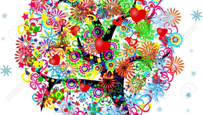 árbol frondoso con muchos colores