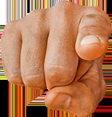 mano de frente con puño cerrado e índice apuntando hacia ti sobre fondo blanco.