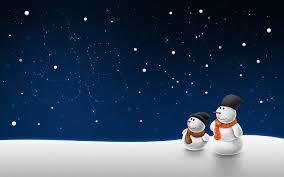 Postal de navidad noche estrellada nieve y 2 muñecos a la derecha abajo con gorro y bufanda